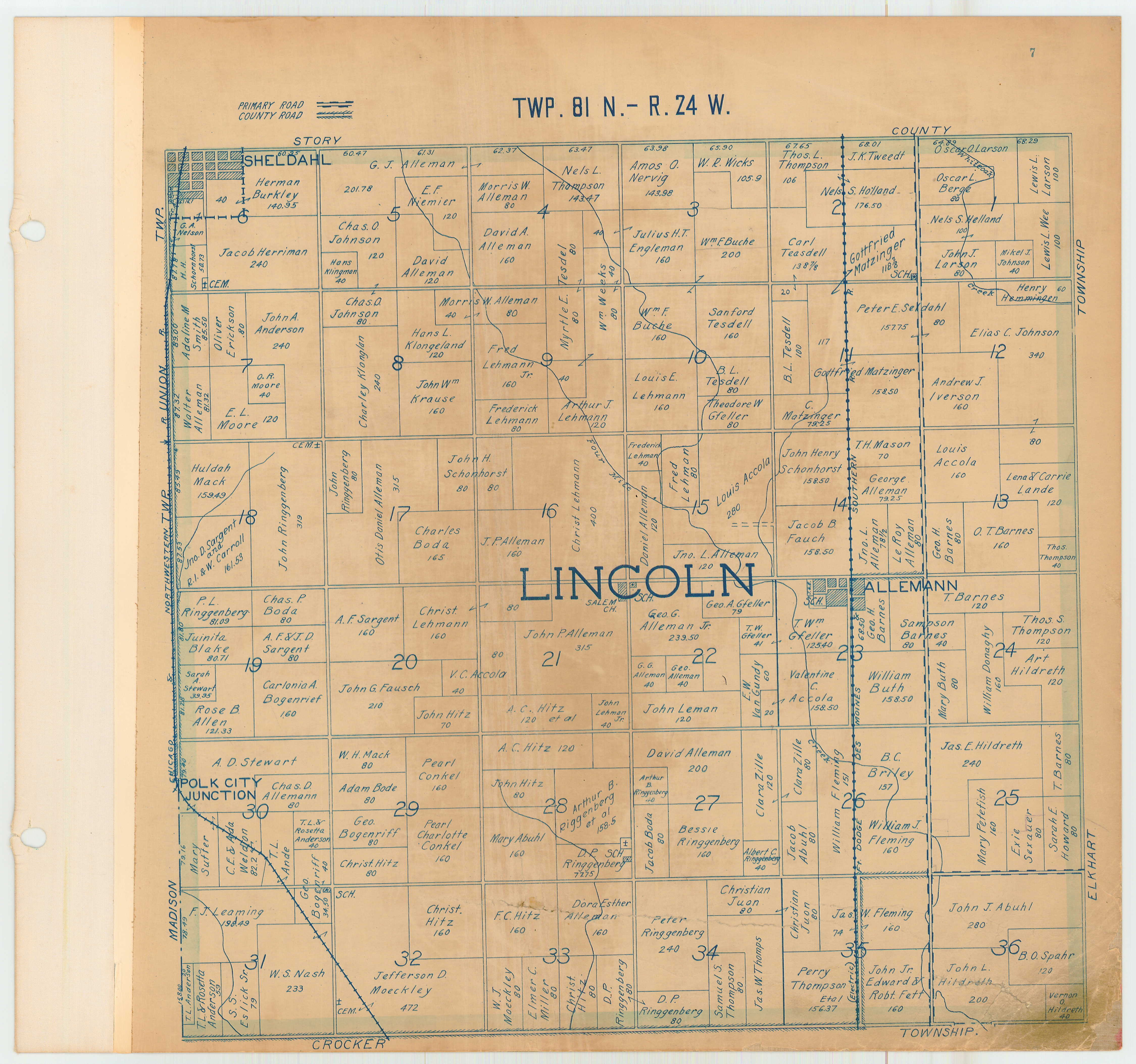 1918 Plat Map County Auditor Polk County Iowa